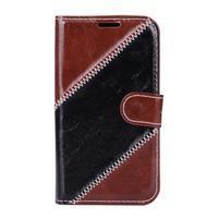 Peňaženkové puzdro Diagonal pre Samsung Galaxy J1 - hnedé/čierné