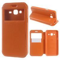 Peňaženkové PU kožené puzdro s okienkom pre Samsung Galaxy J3 (2016) - oranžové