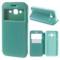 Peňaženkové PU kožené puzdro s okienkom pre Samsung Galaxy J3 (2016) - modrozelené