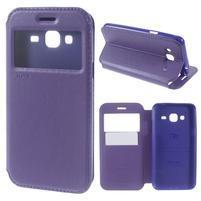 Peňaženkové PU kožené puzdro s okienkom pre Samsung Galaxy J3 (2016) - fialové