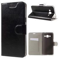 Horse PU kožené penženkové puzdro pre Samsung Galaxy J3 (2016) - čierne