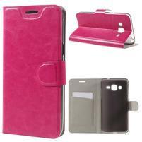 Horse PU kožené penženkové puzdro pre Samsung Galaxy J3 (2016) - rose