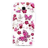 Trasnparent gelový obal na Samsung Galaxy J5 - motýlci a květiny