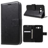 Butterfly PU kožené puzdro pre Samsung Galaxy J5 - čierne