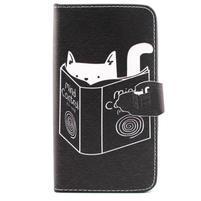 Knížkové puzdro pre mobil Samsung Galax J5 - mačka čte