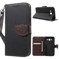 Leaf peňaženkové puzdro pre Samsung Galaxy J5 - čierne