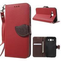 Leaf peňaženkové puzdro pre Samsung Galaxy J5 - červené