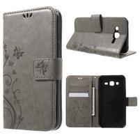 Butterfly PU kožené puzdro pre Samsung Galaxy J5 - šedé