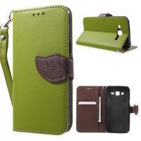 Leaf peňaženkové puzdro pre Samsung Galaxy J5 - zelené