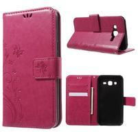 Butterfly PU kožené puzdro pre Samsung Galaxy J5 - rose