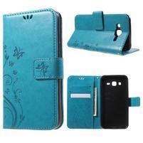 Butterfly PU kožené puzdro pre Samsung Galaxy J5 - modré
