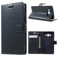Mercury PU kožené puzdro pre mobil Samsung Galaxy J5 - tmavomodré