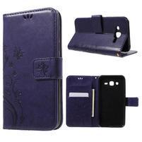 Butterfly PU kožené puzdro pre Samsung Galaxy J5 - fialové