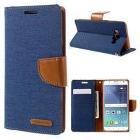 Canvas PU kožené/textilné puzdro pre Samsung Galaxy J5 (2016) - modré