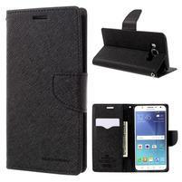 Diary PU kožené puzdro pre mobil Samsung Galaxy J5 (2016) - čierne