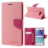 Diary PU kožené puzdro pre mobil Samsung Galaxy J5 (2016) - ružové