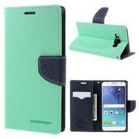Diary PU kožené puzdro pre mobil Samsung Galaxy J5 (2016) - azúrové