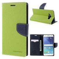 Diary PU kožené puzdro pre mobil Samsung Galaxy J5 (2016) - zelené