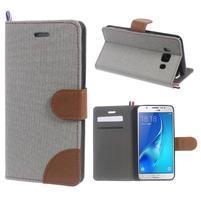 Denim peňaženkové puzdro pre Samsung Galaxy J5 (2016) - šedé