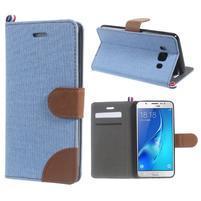Denim peněženkové pouzdro na Samsung Galaxy J5 (2016) - světlemodré