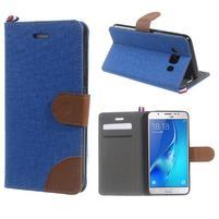 Denim peňaženkové puzdro pre Samsung Galaxy J5 (2016) - modré