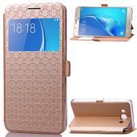 Stars puzdro s okienkom pre mobil Samsung Galaxy J5 (2016) - zlaté