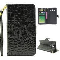 Croco peňaženkové puzdro pre Samsung Galaxy J5 (2016) - čierne