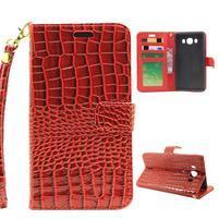 Croco peňaženkové puzdro pre Samsung Galaxy J5 (2016) - červené