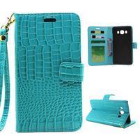Croco peňaženkové puzdro pre Samsung Galaxy J5 (2016) - modré