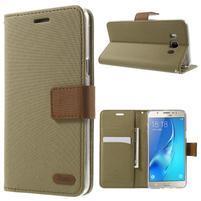 Gentle PU kožené peňaženkové puzdro pre Samsung Galaxy J5 (2016) - khaki