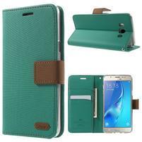 Gentle PU kožené peňaženkové puzdro pre Samsung Galaxy J5 (2016) - zelenomodré