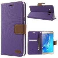 Gentle PU kožené peňaženkové puzdro pre Samsung Galaxy J5 (2016) - fialové
