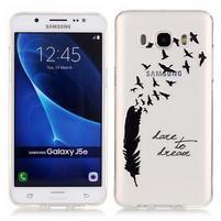 Priehľadný obal pre mobil Samsung Galaxy J5 (2016) - vtáčie pírka