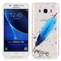 Průhledný obal na mobil Samsung Galaxy J5 (2016) - modré peříčko