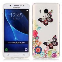 Priehľadný obal pre mobil Samsung Galaxy J5 (2016) - motýle