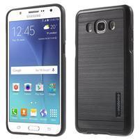 Gélový obal s plastovou výstuhou pre Samsung Galaxy J5 (2016) - čierný