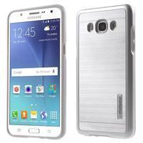 Gélový obal s plastovou výstuhou pre Samsung Galaxy J5 (2016) - strieborny
