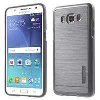 Gélový obal s plastovou výstuhou pre Samsung Galaxy J5 (2016) - šedý