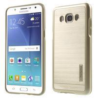 Gélový obal s plastovou výstuhou pre Samsung Galaxy J5 (2016) - zlatý