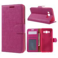 Cloth PU kožené pouzdro na Samsung Galaxy J5 (2016) - rose