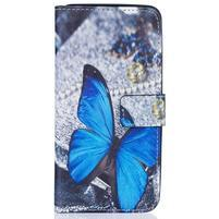 Knížkové pouzdro na mobil Samsung Galaxy J5 (2016) - modrý motýl