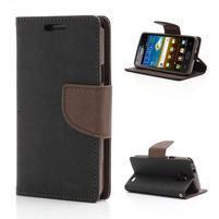 Diary PU kožené puzdro pre mobil Samsung Galaxy S2 - čierne/hnedé