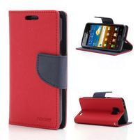 Diary PU kožené pouzdro na mobil Samsung Galaxy S2 - červené