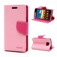 Diary PU kožené puzdro pre mobil Samsung Galaxy S2 - ružové