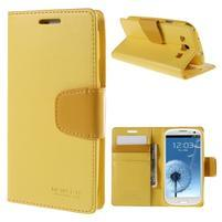Diary PU kožené puzdro pre mobil Samsung Galaxy S3 - žlté
