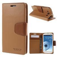 Diary PU kožené pouzdro na mobil Samsung Galaxy S3 - hnědé
