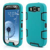 Odolné silikonové pouzdro na mobil Samsung Galaxy S3 - modré/černé