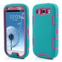Odolné silikonové pouzdro na mobil Samsung Galaxy S3 - modré/rose