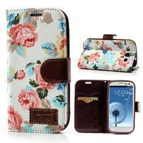 Kvetinové puzdro pre mobil Samsung Galaxy S3 - biele poazdí