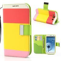 Tricolors PU kožené puzdro pre mobil Samsung Galaxy S3 - žltý stred